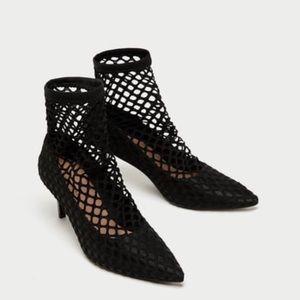 Zara fishnet court heels
